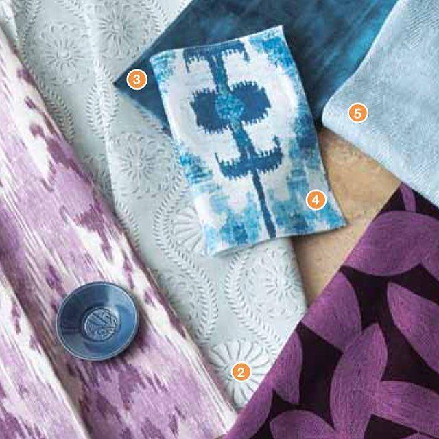 """Maderas"" in Blues in CT C&G @cottagesgardens 💙💜 #Maderas #textiles #interiordesign #prints"