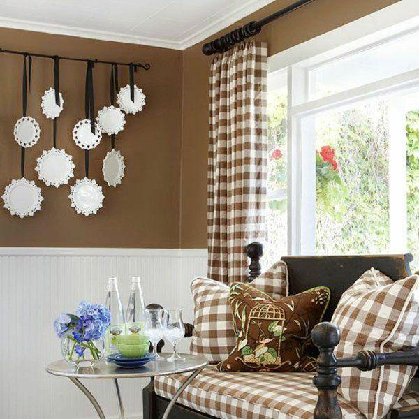 Wohnzimmer Gardinen Gardinendekoration Beispiele Braun Weiße Quadrate