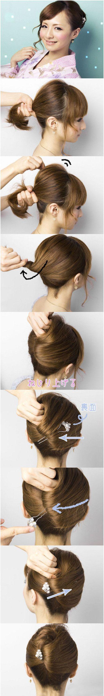 Simple japanese style updo hair tutorial lovely hair pinterest