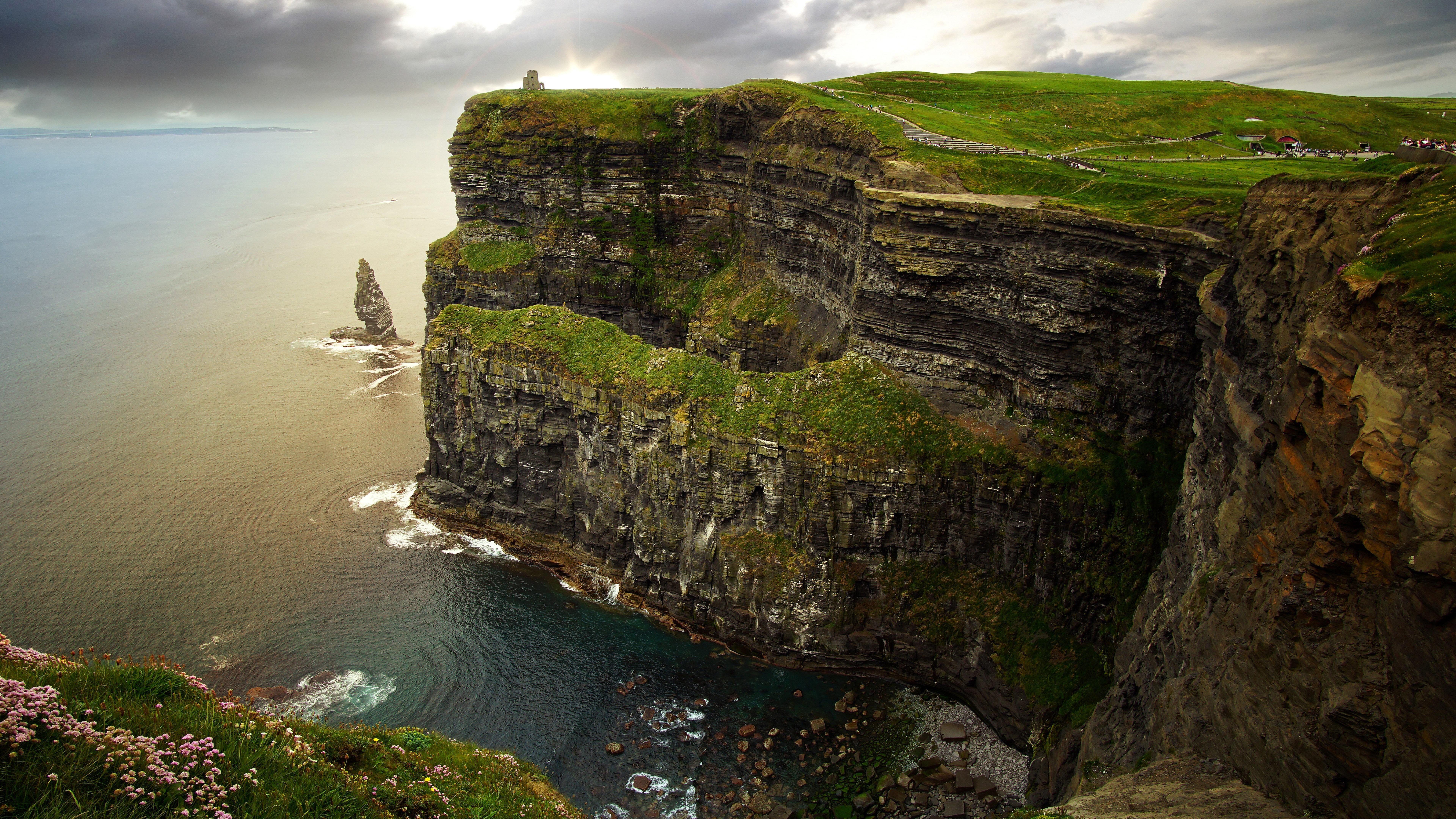 formation cloud rugged 8k uhd burren sea cliff