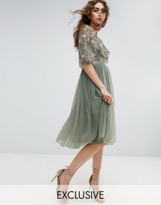 aaa156e803 Needle & Thread | Needle and Thread Ruffle Sleeve Midi Dress With Floral  Embroidery