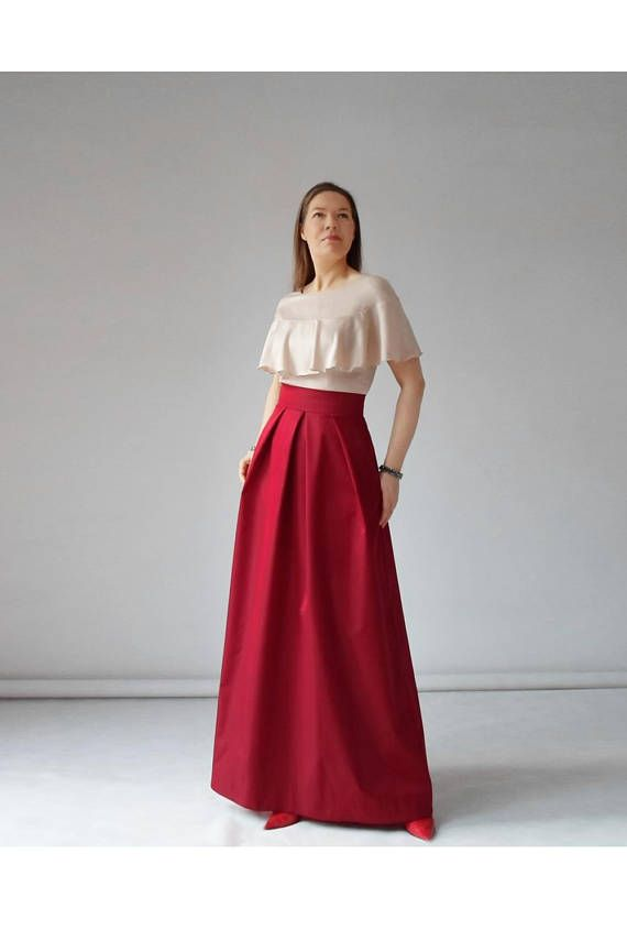 Long red skirt, prom, pleated, maxi, black, turquoise, with pockets ...