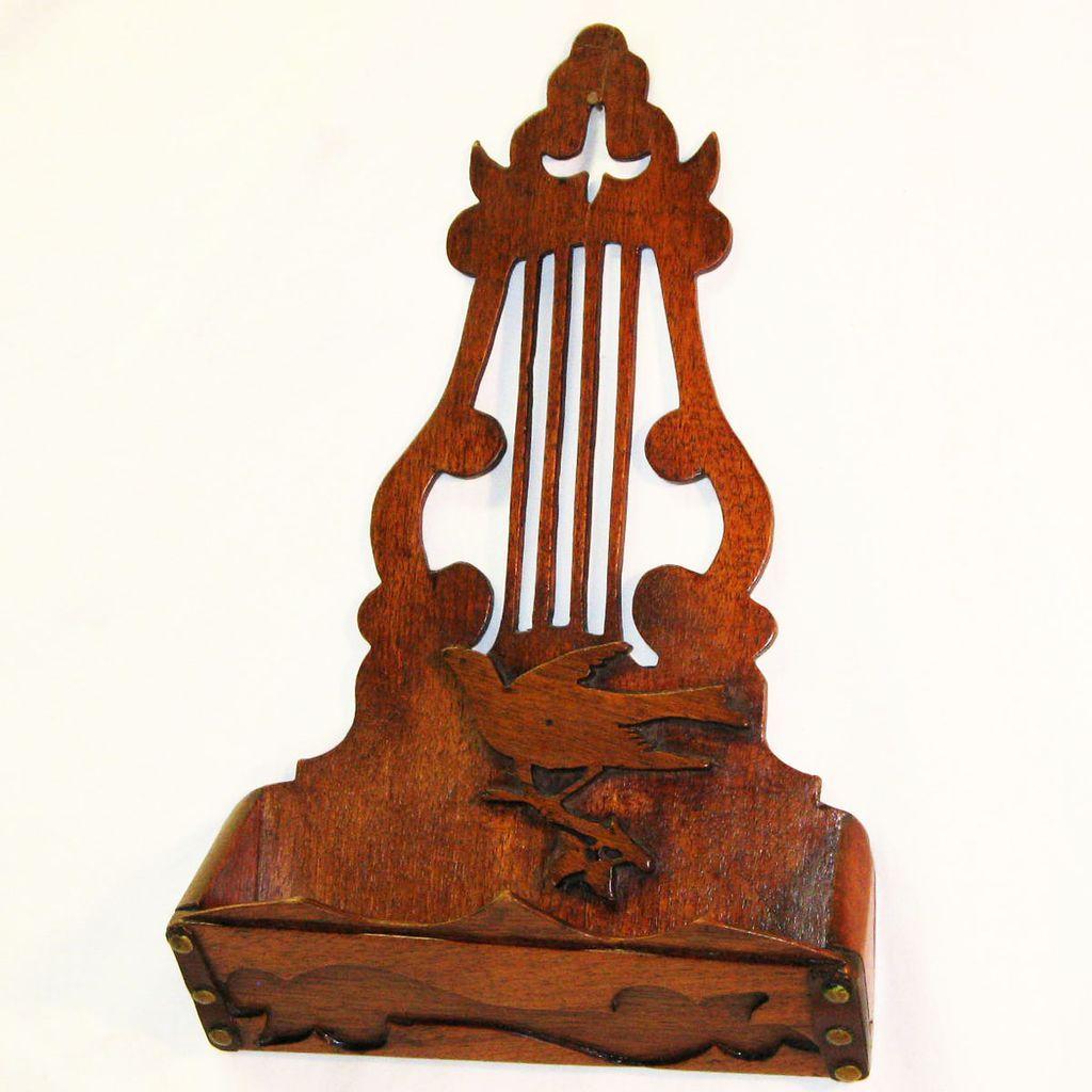 50% off Saturday January 12th, 2013 - Ruby Lane - Mahogany Irish Harp Design Comb Case/ Wall Pocket w/ Decorative Elements