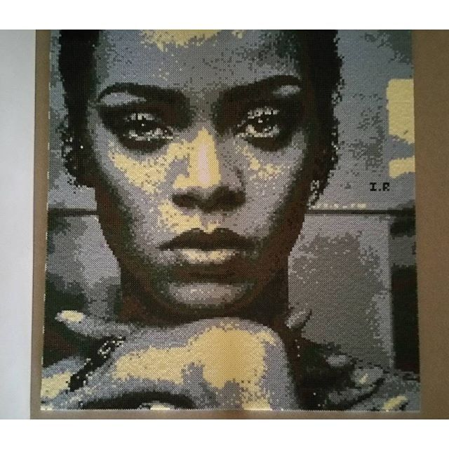 Rihanna perler bead portrait by inma robles | Perler beads