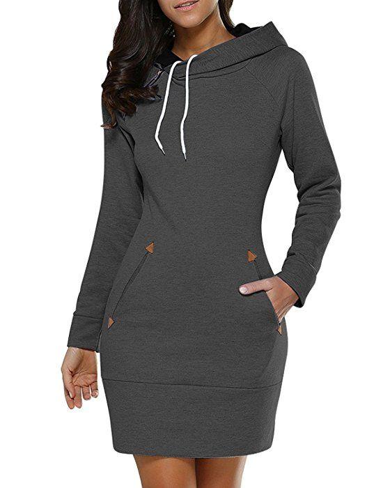 Damen Mode Hoodie mit Zip Langarm Pullover Jumper Pulli