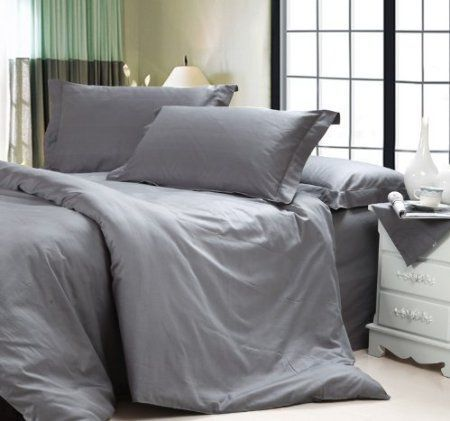 Diaidi Solid Dark Grey Bedding Sets Luxury Grey Comforter Set Hotel Bedding Sets Queen King Size 4pc Grey Comforter Hotel Bedding Sets Grey Comforter Sets