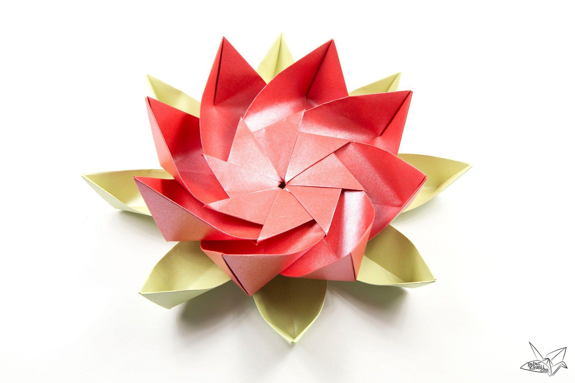 Modular Origami Lotus Flower With 8 Petals Tutorial Pinterest