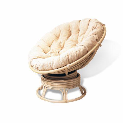 Handmade Rattan Wicker Round Swivel Rocking Papasan Chair Cushion