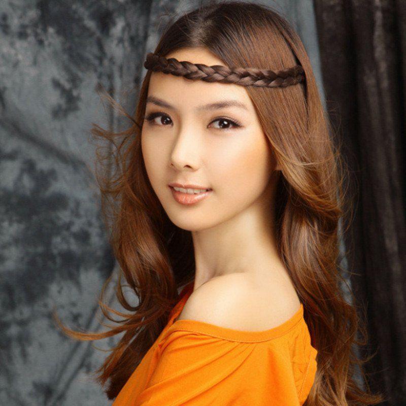 1cm Width Wig Braid Elastic Headband Synthetic Hair - Berry10