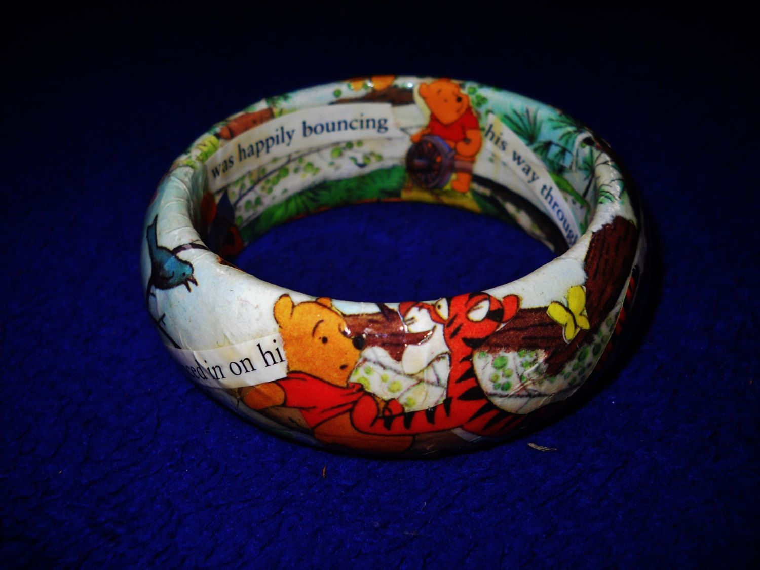 Hand,made and One of a kind Decoupage Bracelet , Winnie the