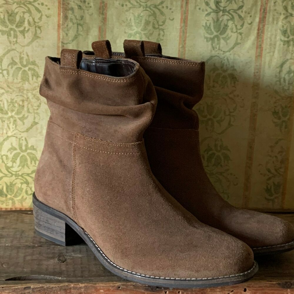 NEXT UK SIZE 7 WOMENS BROWN TAN LEATHER SUEDE ANKLE BOOTS