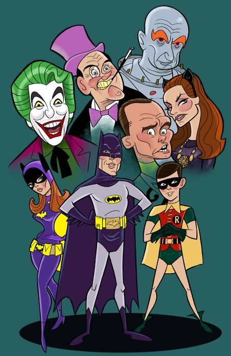 Caricatures of the Batman TV series (1966-68).