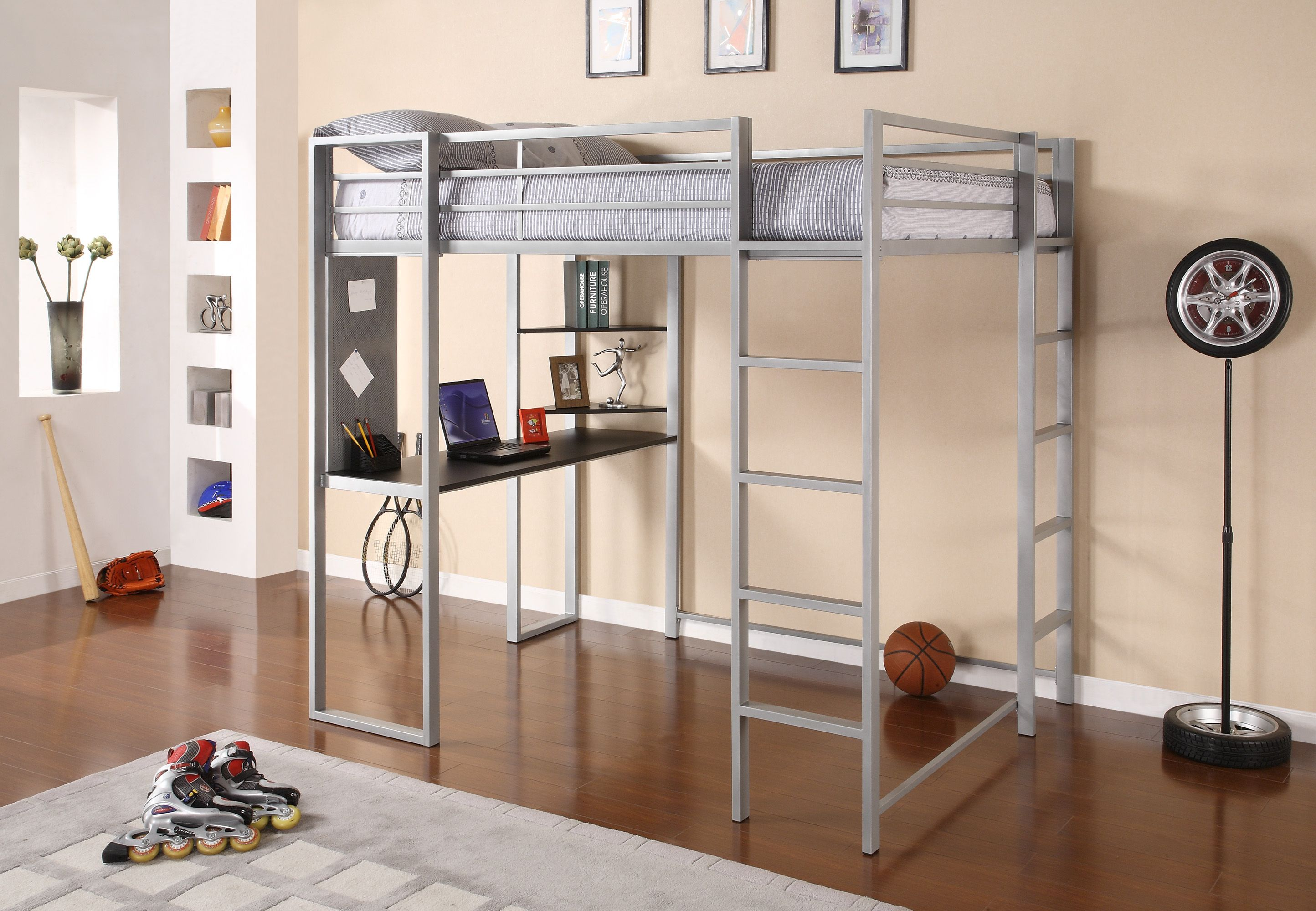 Loft bed with desk cheap  Dorel Home Products  Abode Silver Full Size Loft Bed with