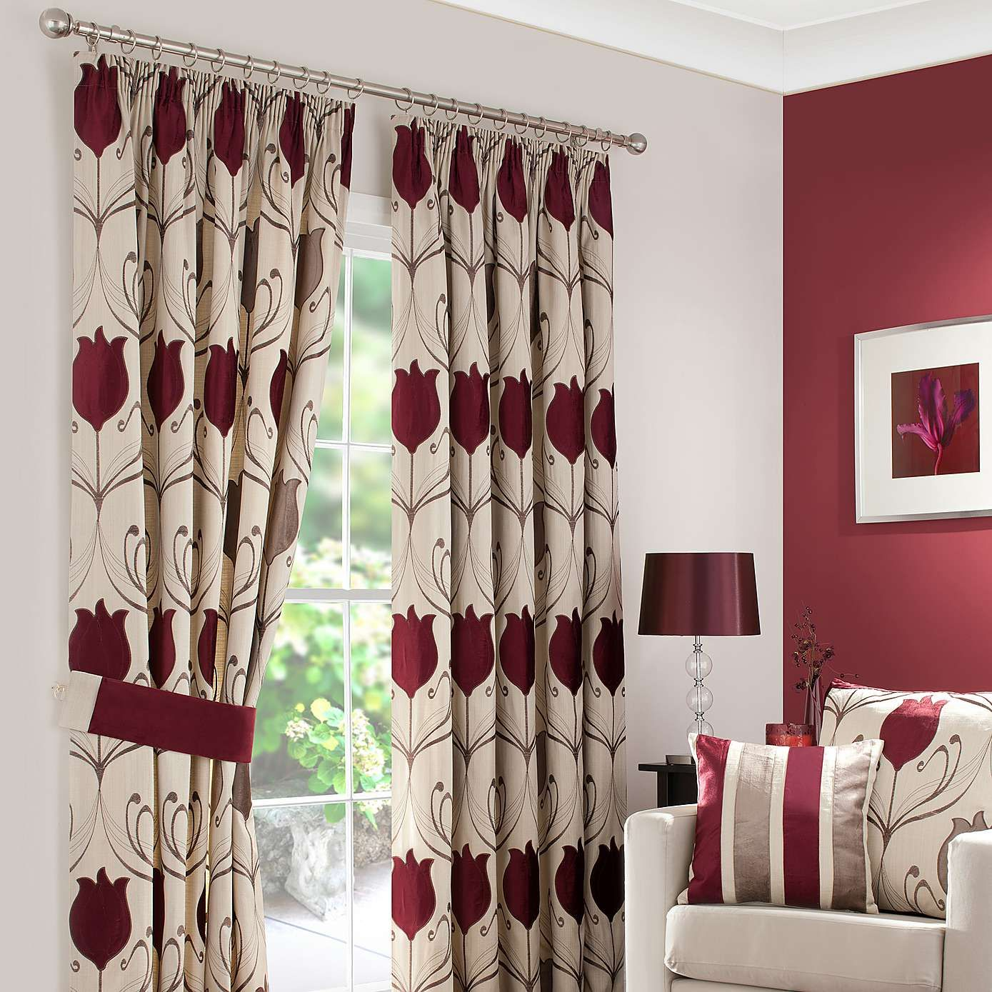 Wine Lalique Lined Pencil Pleat Curtains  Dunelm  Stylish Home Glamorous Red Dining Room Curtains Review