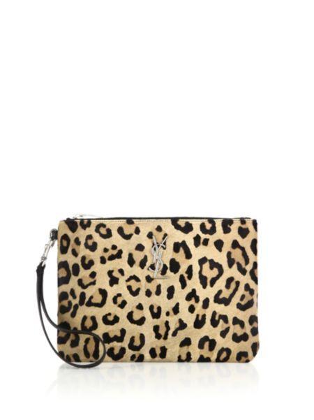 Saint Laurent - Saint Laurent Monogram Leopard-Print Calf Hair Zip Pouch