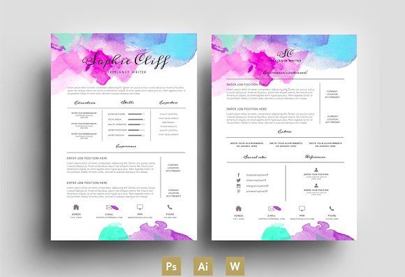 Water ColorResumeTemplatePsd By EmilyS Art Boutique On