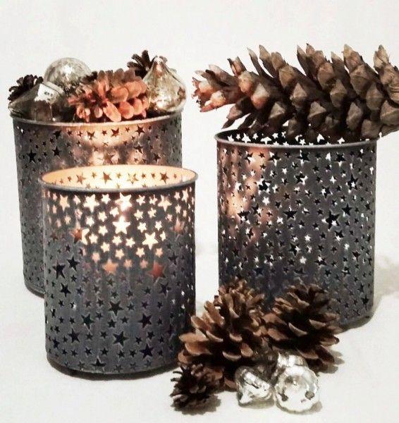 Windlicht mit Sternen in grau aus Eisen 3 Größen