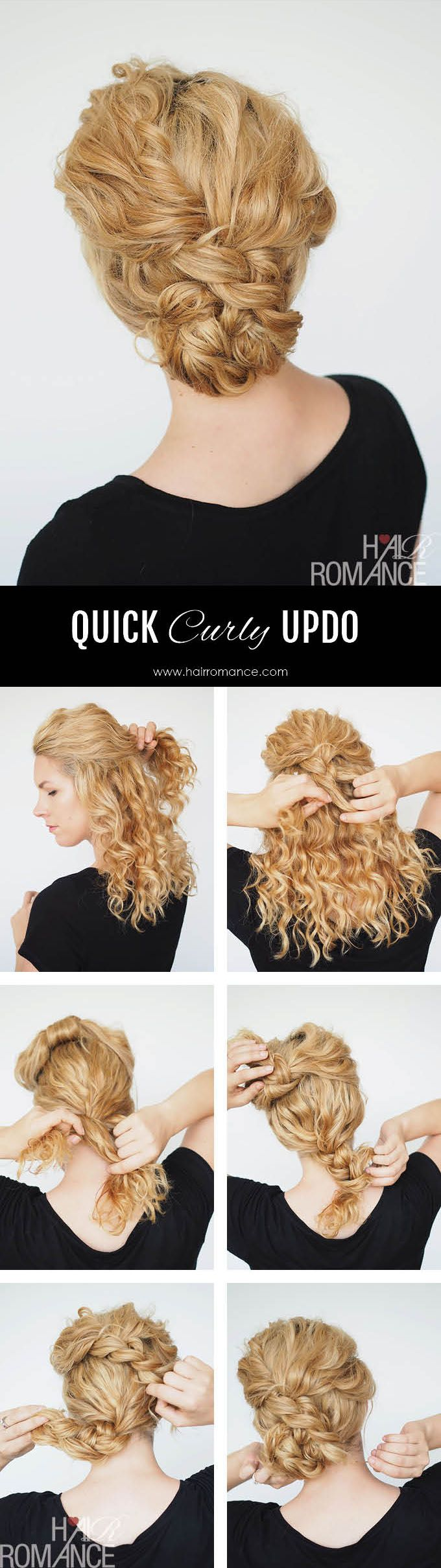 Second Day Curly Hairstyles 2 Min Updo For Curly Hair Hair Pinterest Curly Updo Tutorial