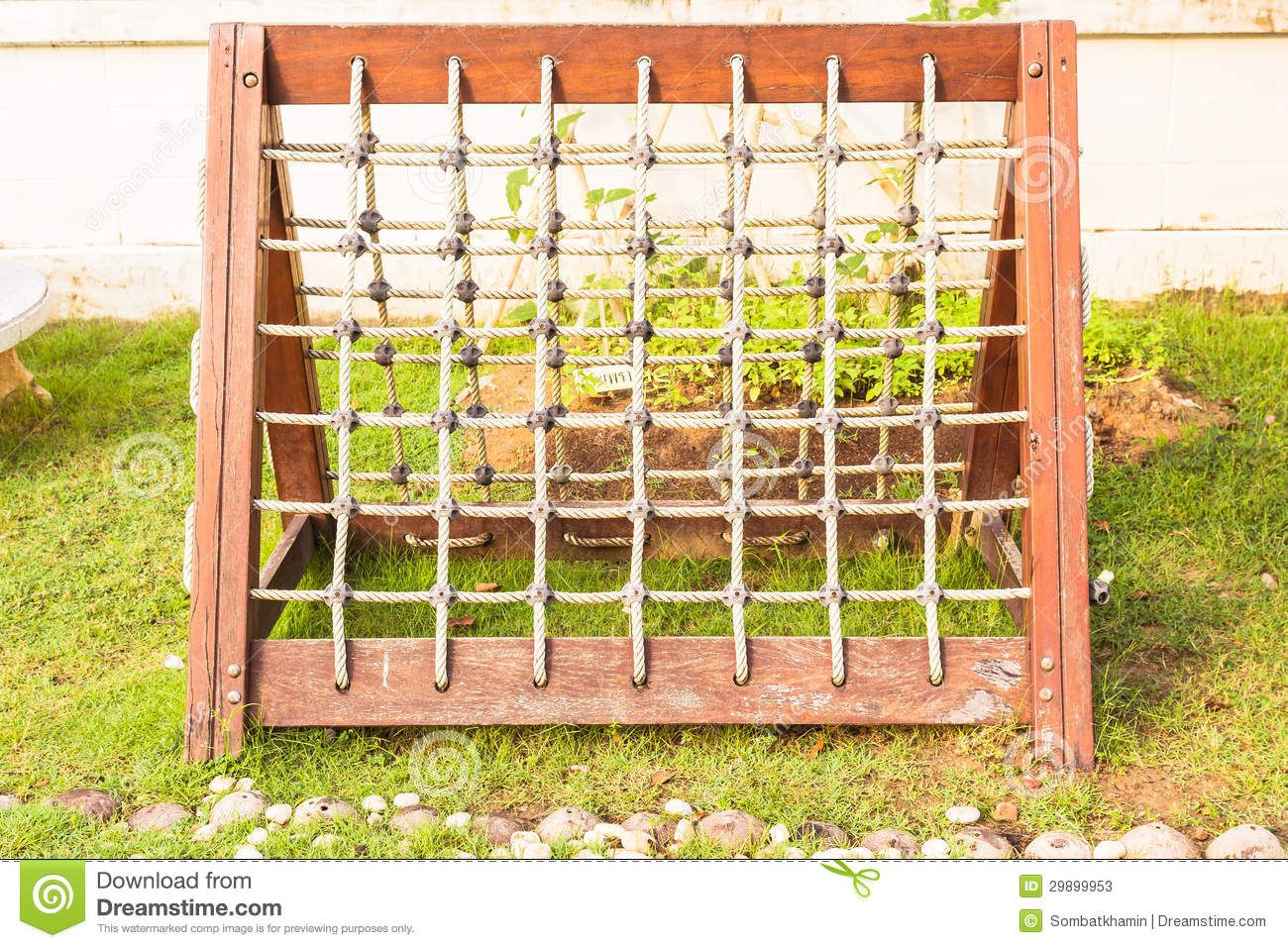 Rope Net With Wooden Frame At Playground For Children Climbing ...