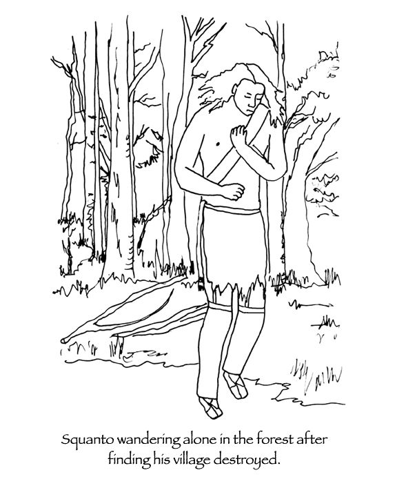 After many years in england squanto finally boarded a for Squanto coloring pages
