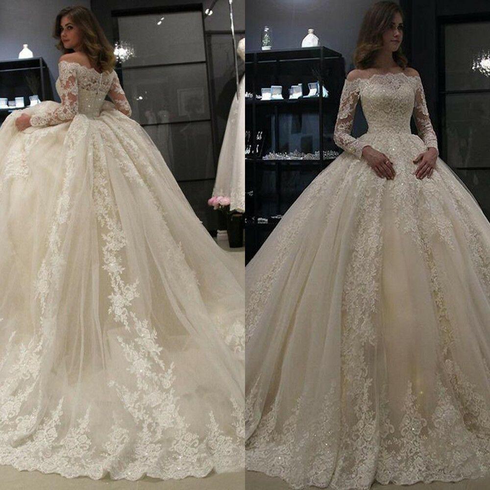 Off Shoulder Ball Gown Bridal Gown Long Sleeve Lace Dubai Arabic