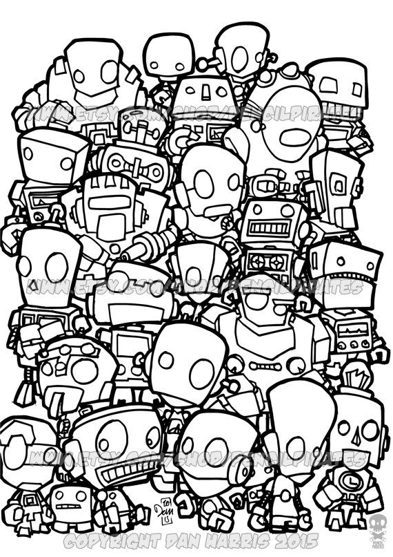 Robot Colouring Page Adult Colouring Book Page One Page Instant
