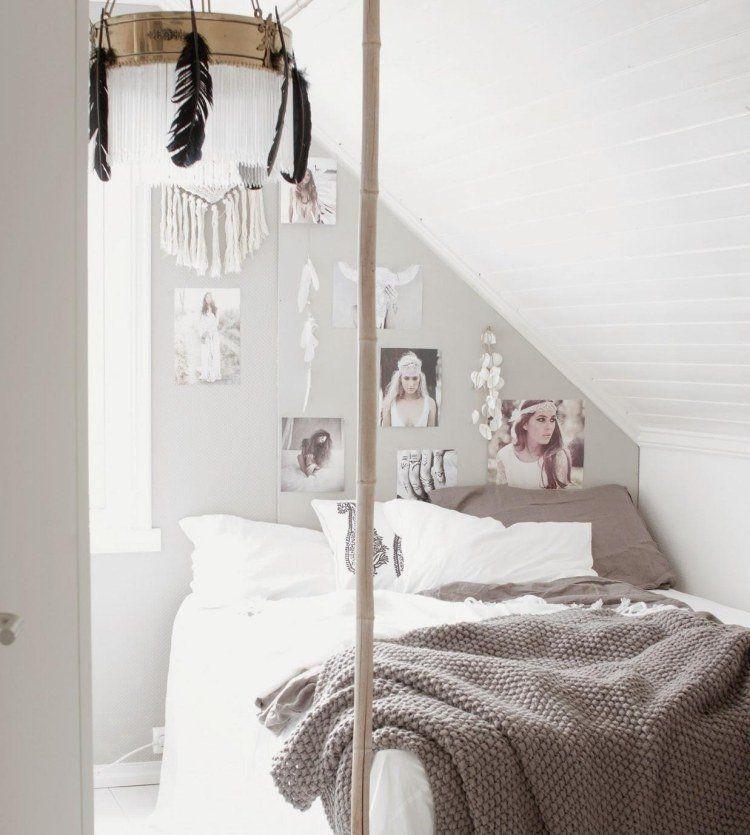 chambre boh me atmosph re romantique en blanc plume. Black Bedroom Furniture Sets. Home Design Ideas