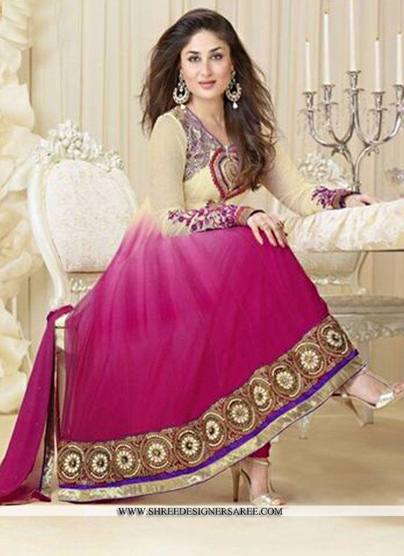 Angel Kareena Kapoor Cream & Magenta Faux Georgette Anarkali Suit ...