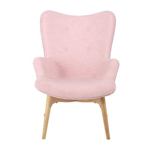 Butaca escandinava de tela rosa decoration aylys for Sillones para apartamentos pequenos