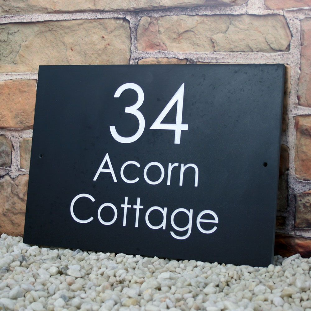 25 95 Engraved Paint Infill Honed Slate House Door Sign Name