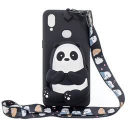 Cute Panda Neck Lanyard Zipper Wallet Silicone Case for Samsung Galaxy A10s - Galaxy A10s Cases - Guuds
