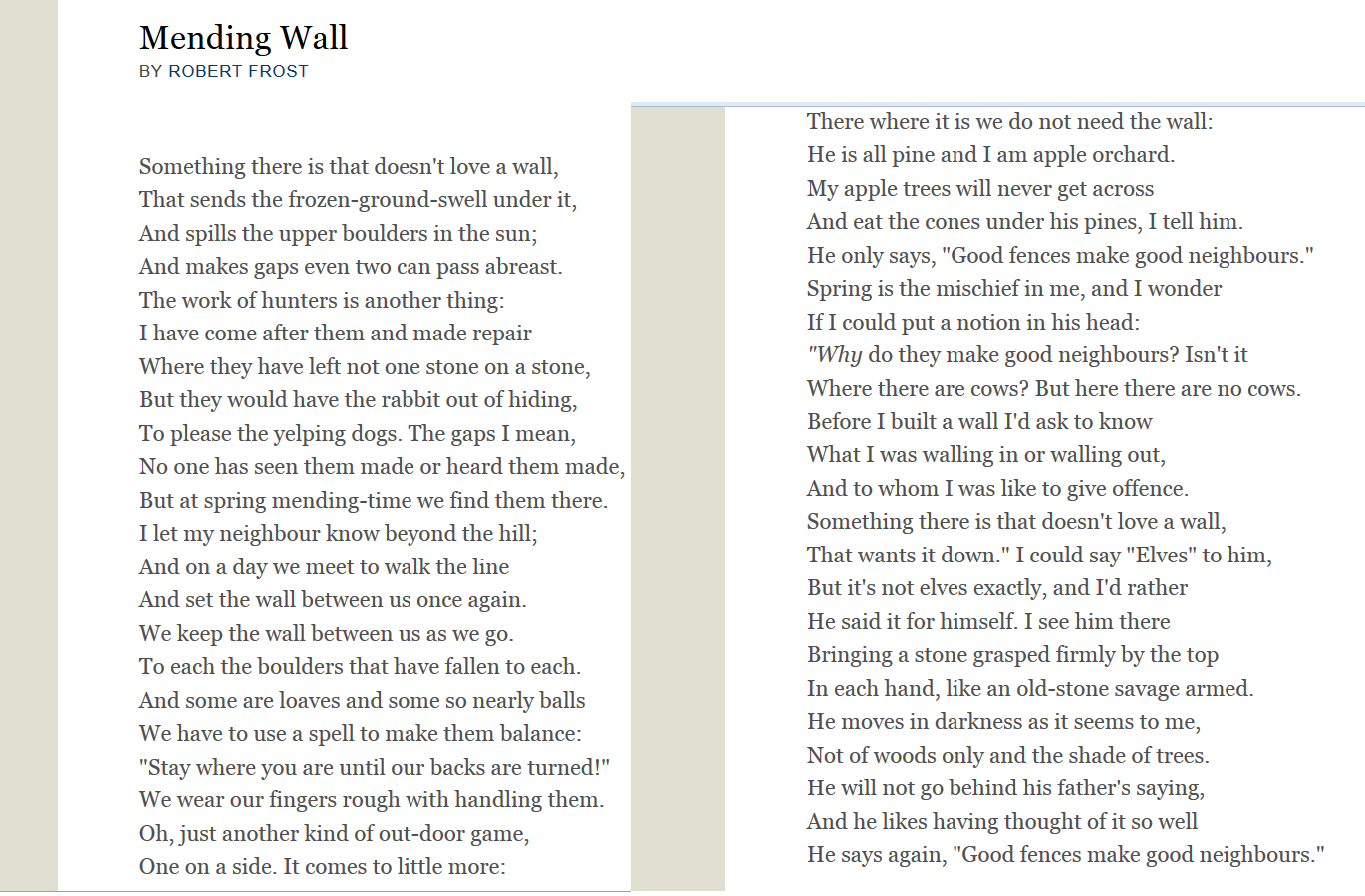 mending wall critical analysis pdf
