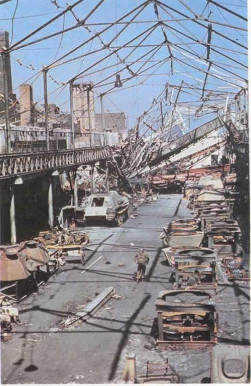 German World War 2 Colour German Factory After Allied Bombing