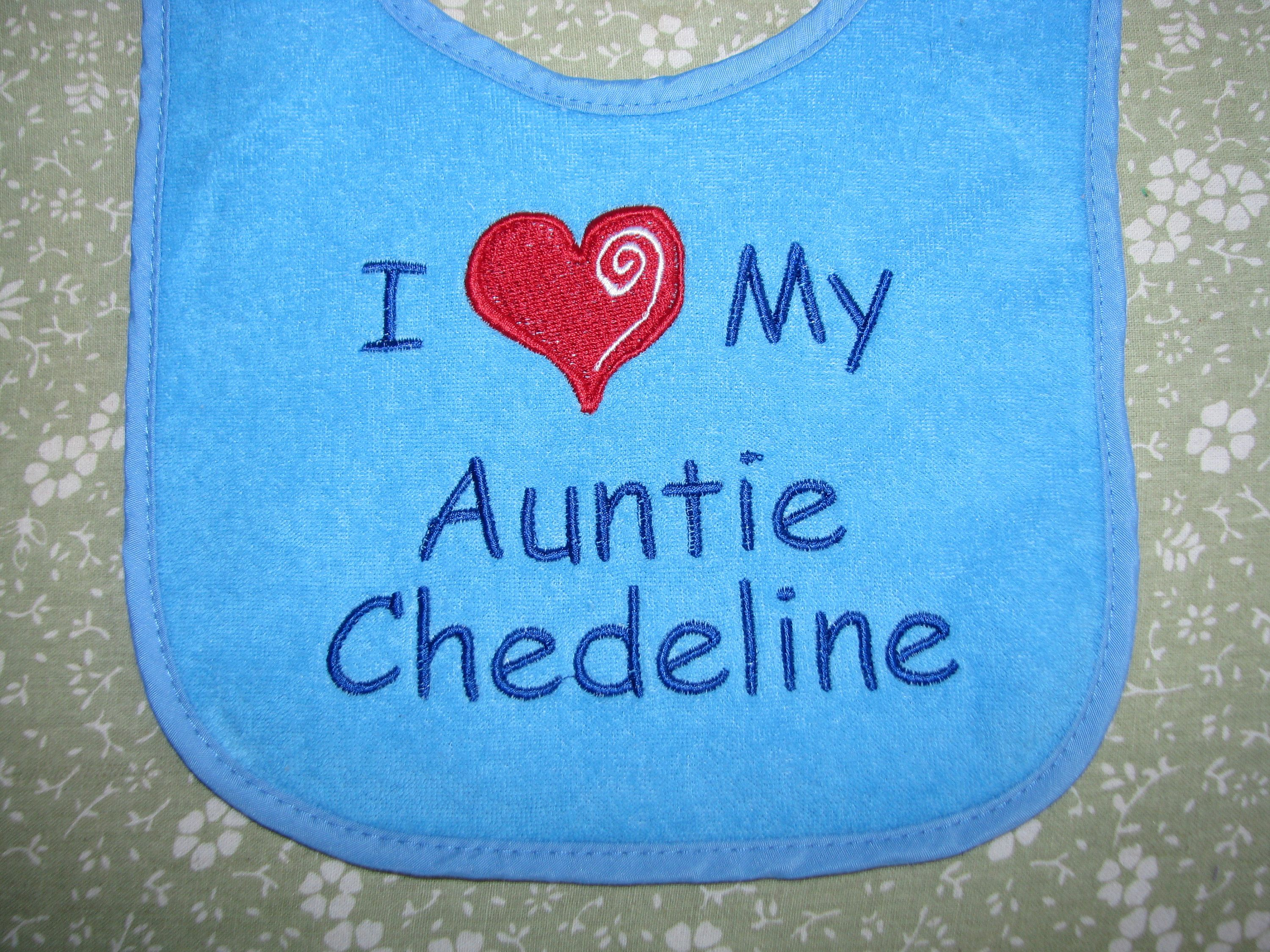 I LOVE MY AUNT AND UNCLE BABY BIB PERSONALIZED BABY BIB I HEART MY