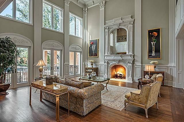 Beautiful room. High ceilings with hardwood floors and magnificent fireplace.