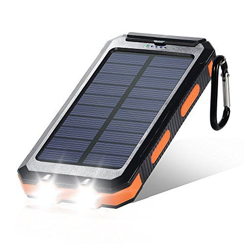 Dostyle Solar Charger, 10000mAh Dual USB Power Bank Solar