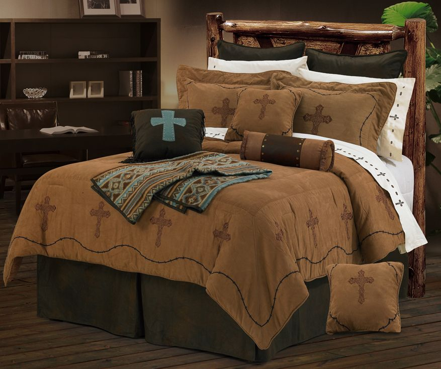Cross and barb wire texas comforter bedding set super for Western style beds