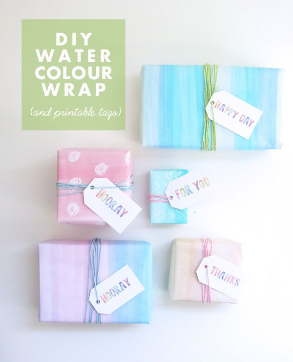 Paper Party Diy Watercolour Gift Wrap Free Printable Tags