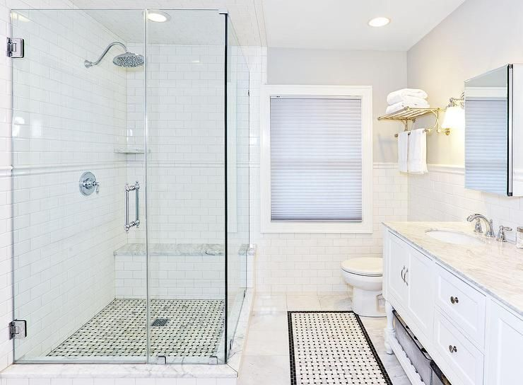 Corner Walk In Shower With Chair Rail Tiles Transitional Bathroom White Subway Tile Shower White Bathroom Tiles Bathroom Shower Tile