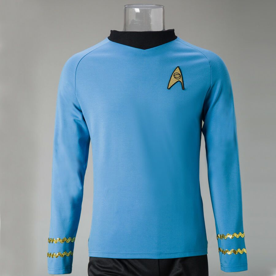 Star Trek TNG Cosplay Costume Blue Shirt Starfleet Science Uniforms Badge Set
