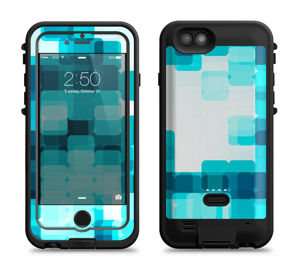 The Vibrant Blue HD Blocks Apple iPhone 6/6s LifeProof Fre POWER Case Skin Set