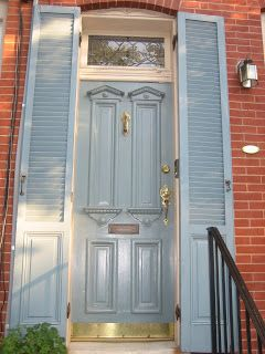 light blue front door and shutters | Federal Hill neighborhood | Baltimore ... & light blue front door and shutters | Federal Hill neighborhood ... pezcame.com