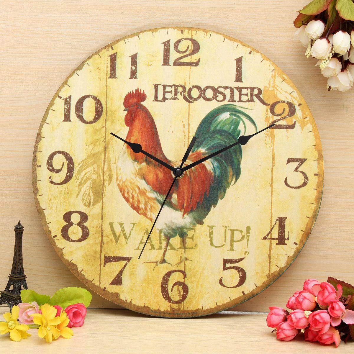 Vintage Wall Clock Retro Zakka Rustic Art Shabby Wooden Clock Home ...
