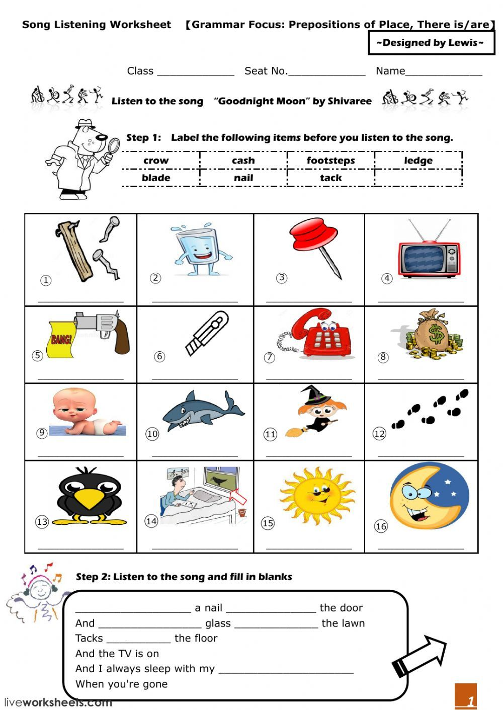 Worksheets with songs interactive and downloadable worksheet ...