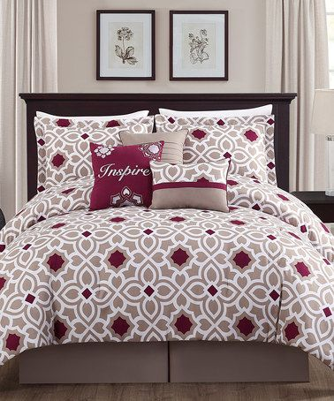 Loving this Taupe & Berry Inspire Embroidered Seven-Piece Comforter Set on #zulily! #zulilyfinds