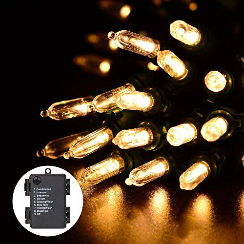 RECESKY Battery Operated Christmas String Lights 50 LED 226ft Clear