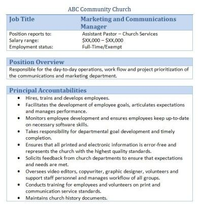 Sample Church Employee Job Descriptions Job description and Churches - marketing report sample