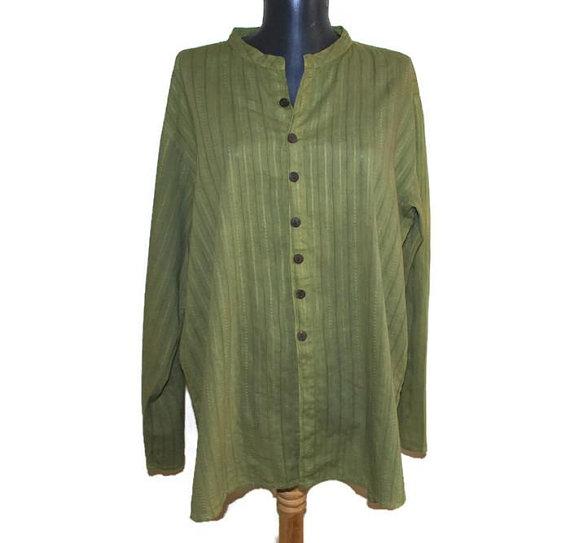 1f1005e3a9f Hippie button down shirt Olive green BOHO dress shirt Mandarin collar shirt  striped cotton long slee