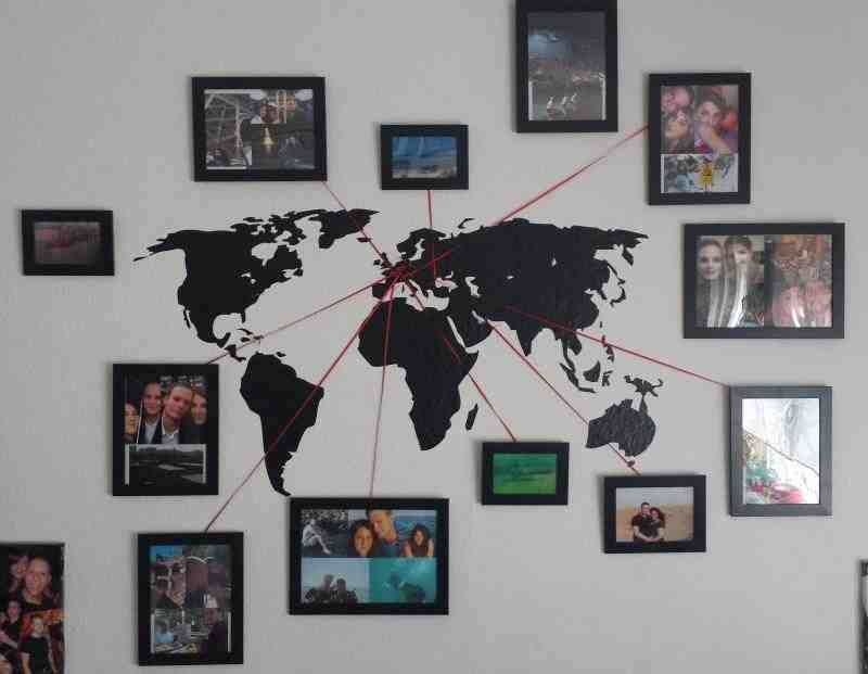 Vacation memory photo map gallery wall destinations and printer verdenskort vgbillede great idea to display a way to pray for missionary families diy world map wall decoration gumiabroncs Choice Image