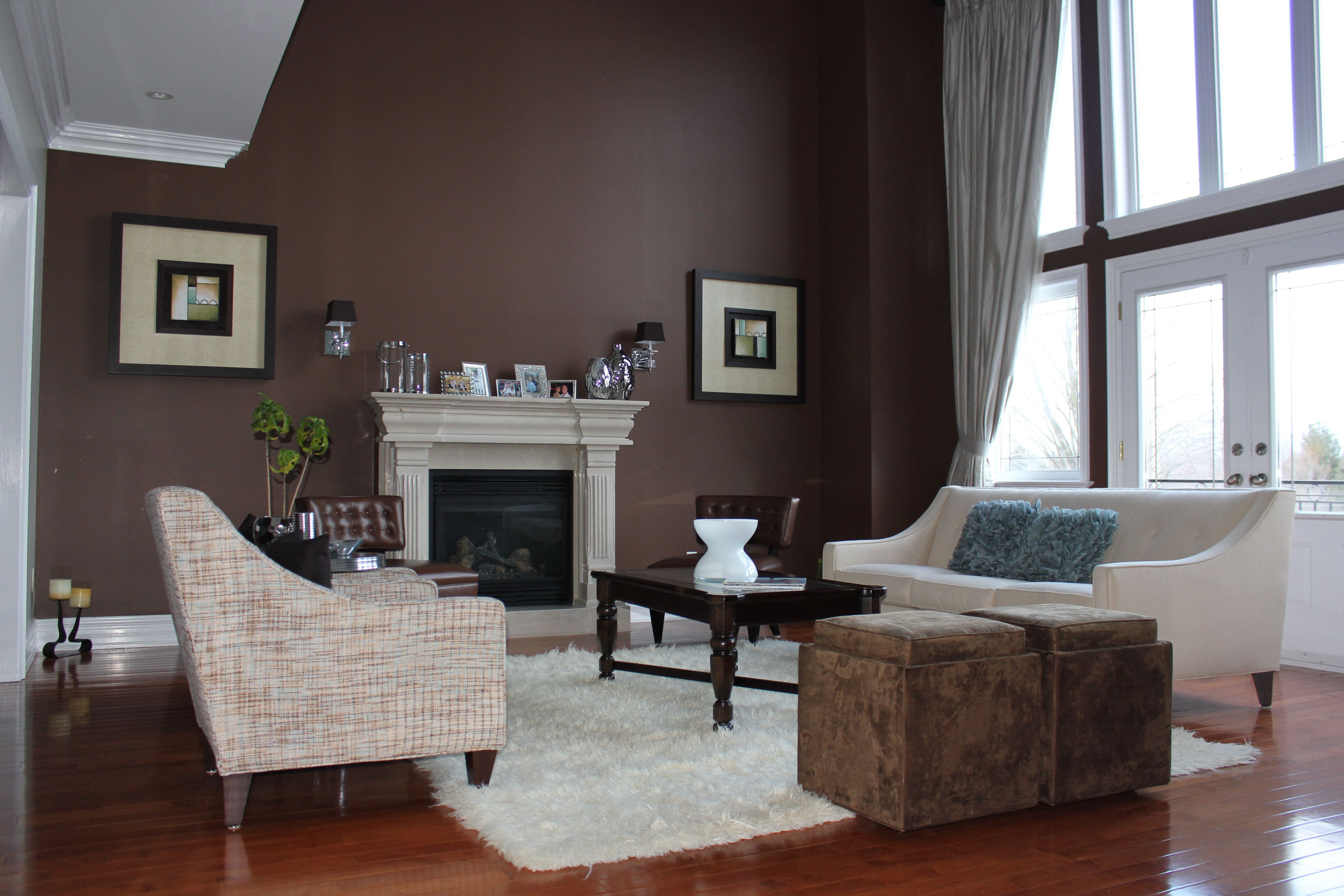 Painted living room with accent wall. Color Combinations